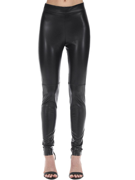 WOLFORD Estella Faux Leather Leggings in black