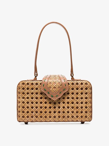 Mehry Mu Brown Fey In The 50's Rattan Leather Box Bag