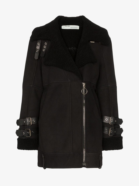 Off-White Shearling biker style woman coat in black