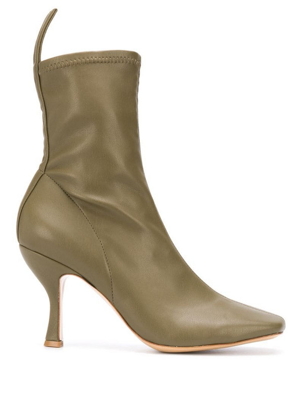 Gia Couture Soraya square-toe ankle boots in green