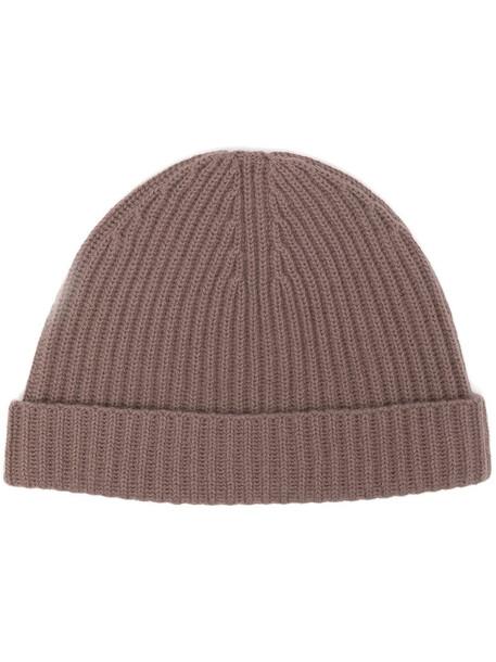 N.Peal ribbed beanie hat - Red