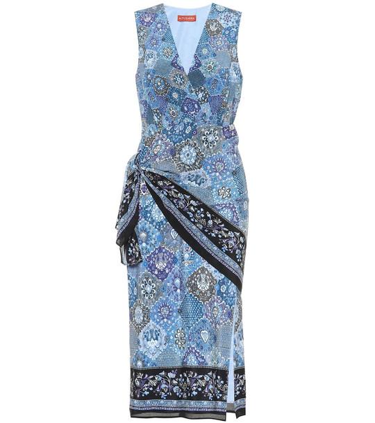 Altuzarra Sade printed silk midi dress in blue
