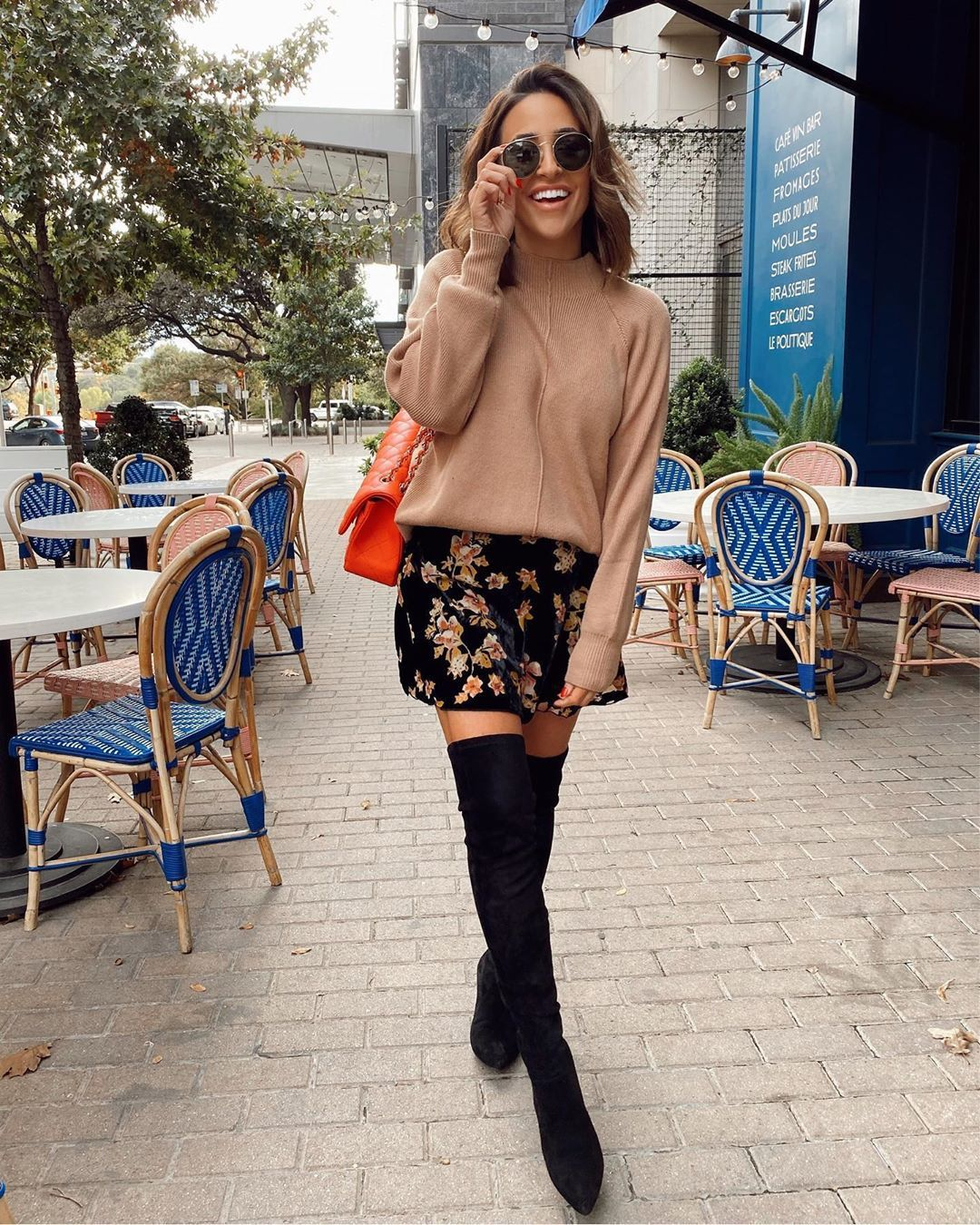 skirt mini skirt over the knee boots black boots sweater bag
