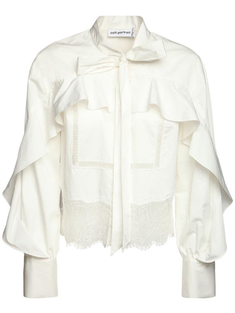 SELF-PORTRAIT Ruffled Cotton Poplin Shirt in white