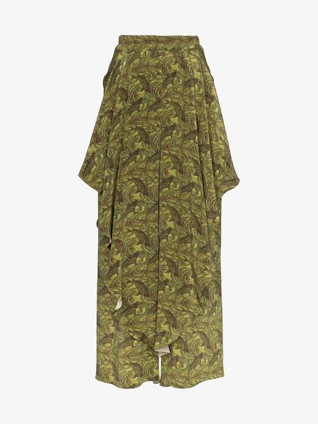 By Walid ruffle wide leg silk trousers in green