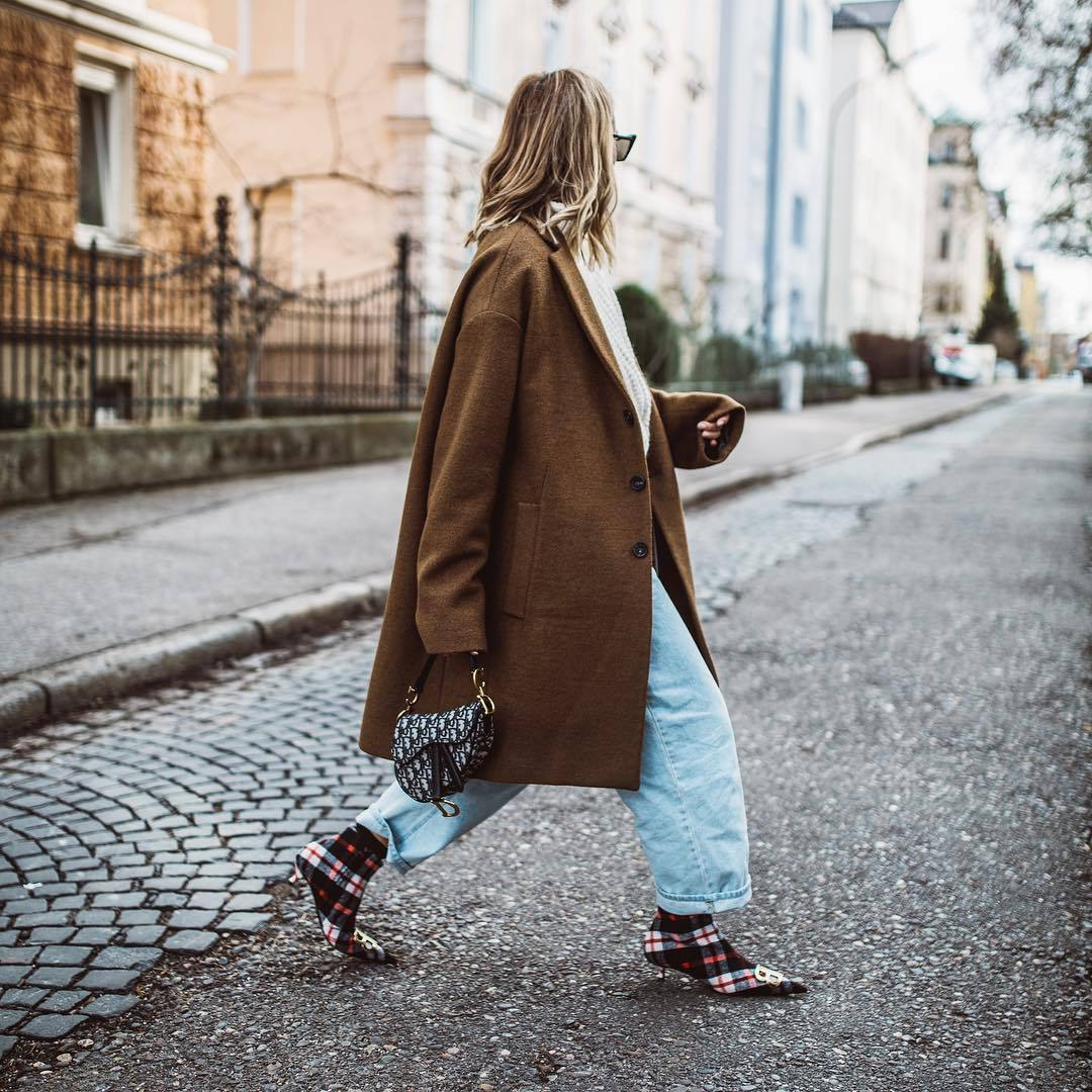 shoes ankle boots plaid balenciaga boyfriend jeans dior bag oversized coat brown coat white sweater