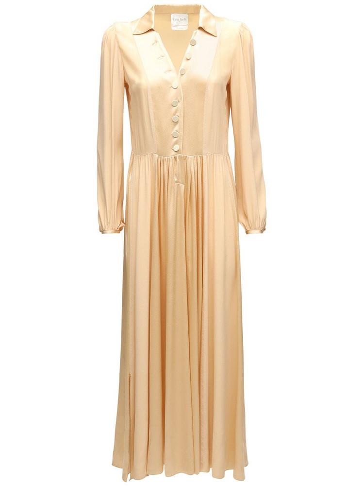 FORTE FORTE Moroccan Satin Shirt Midi Dress in beige