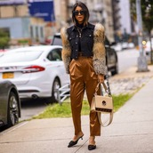 jacket,denim jacket,black jacket,fur,satin,high waisted pants,mules,fendi,shoulder bag,black turtleneck top