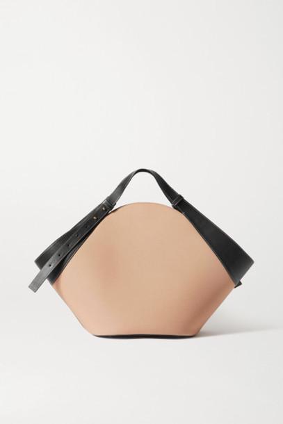 Yuzefi - Basket Leather-trimmed Canvas Shoulder Bag - Beige