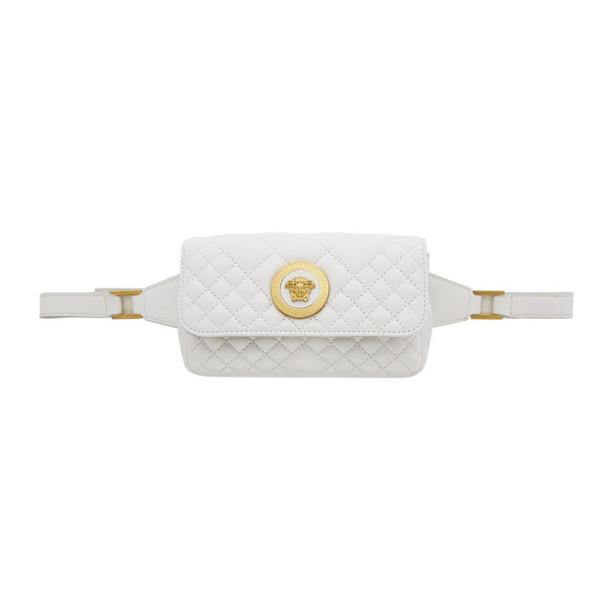 Versace White Mini Quilted Medusa Icon Bum Bag
