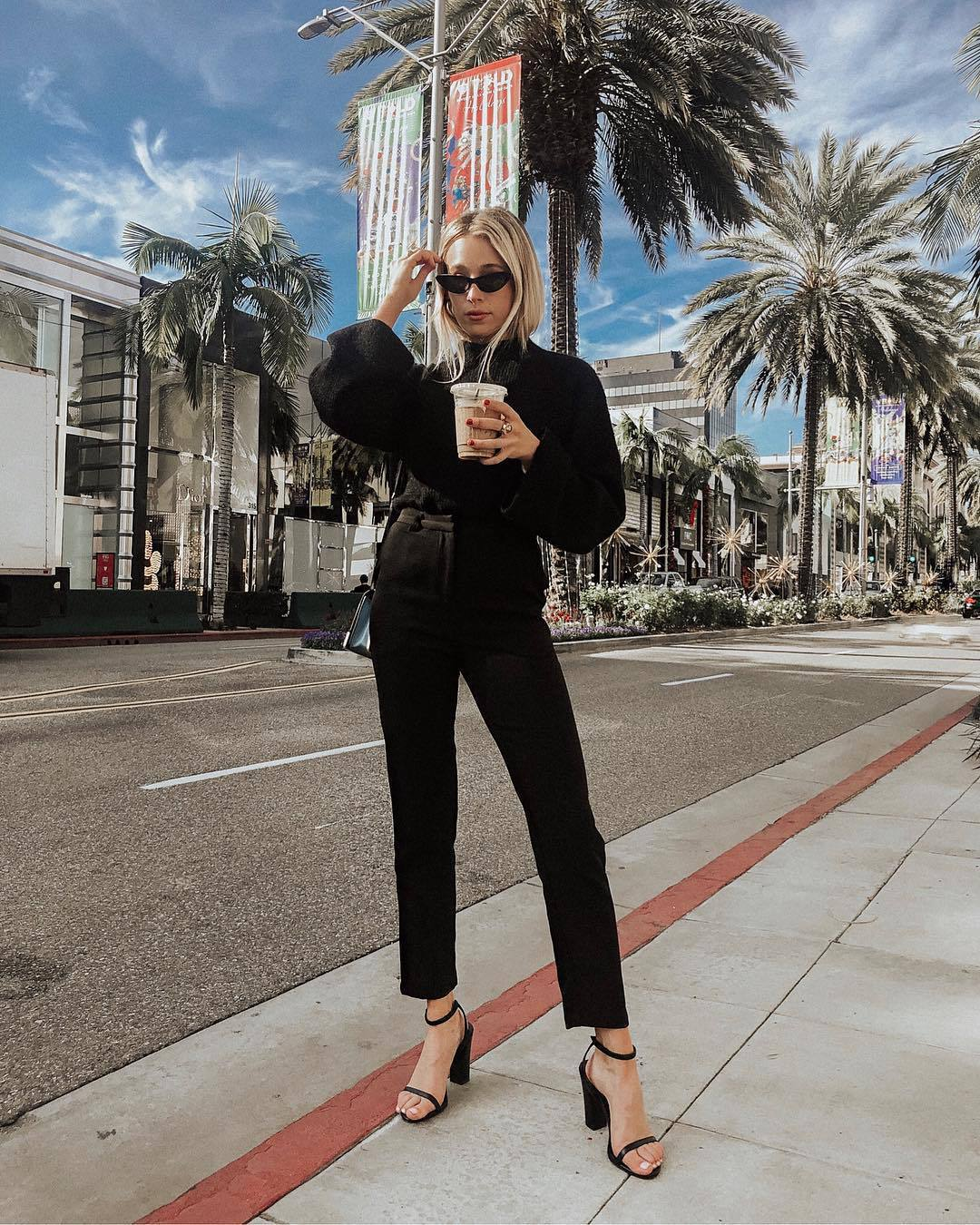 sweater black sweater black sandals black pants straight pants high waisted pants black sunglasses