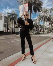 sweater,black sweater,black sandals,black pants,straight pants,high waisted pants,black sunglasses