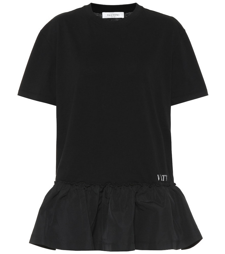 Valentino Cotton jersey and taffeta minidress in black