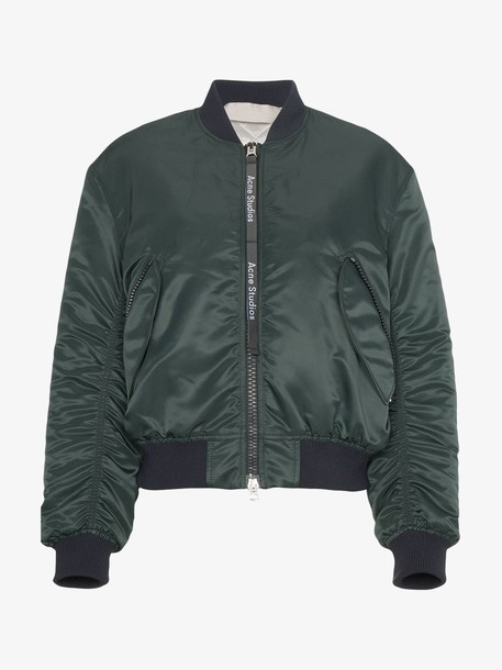 Acne Studios Clea Ruched bomber Jacket in green