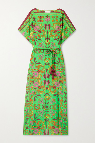 TORY BURCH - Belted Printed Cotton And Silk-blend Kaftan - Green