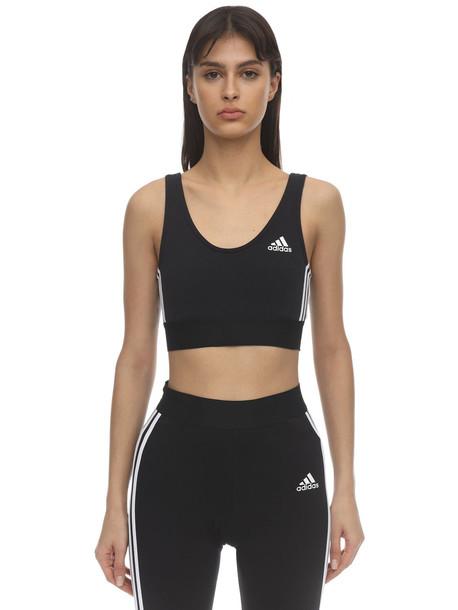 ADIDAS PERFORMANCE Stretch Cotton 3-stripes Bra Top in black