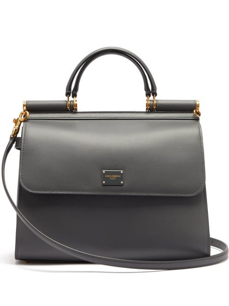 Dolce & Gabbana - Sicily 58 Large Leather Bag - Womens - Dark Grey