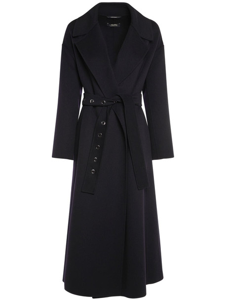 'S MAX MARA Doubled Pure Wool Coat W/ Belt in blue