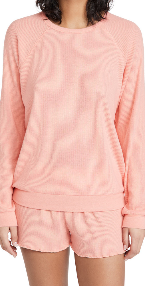 PJ Salvage Textured Lounge Pullover in coral