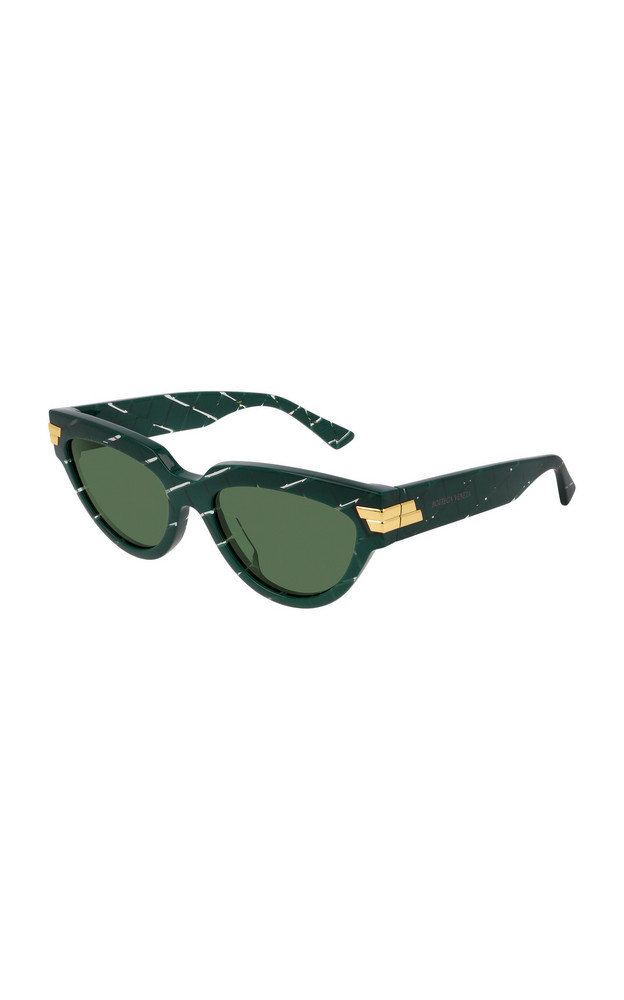 Bottega Veneta Intrecciato Cat-Eye Acetate Sunglasses in green
