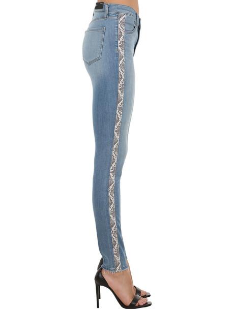 J BRAND Maria Stretch Denim Jeans W/ Side Bands in blue