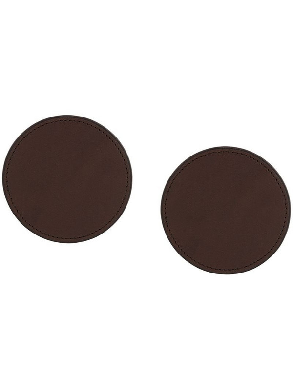 d'heygere round leather earrings in brown