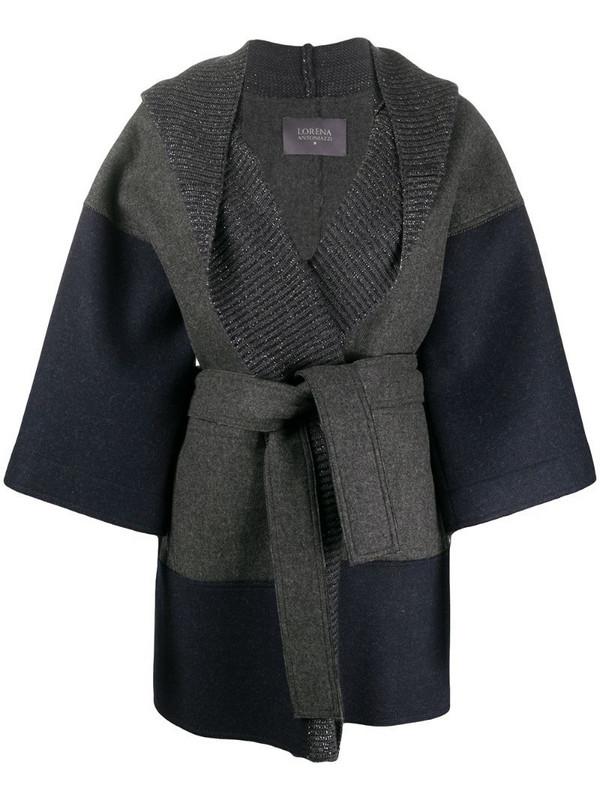 Lorena Antoniazzi oversize belted wool coat in blue