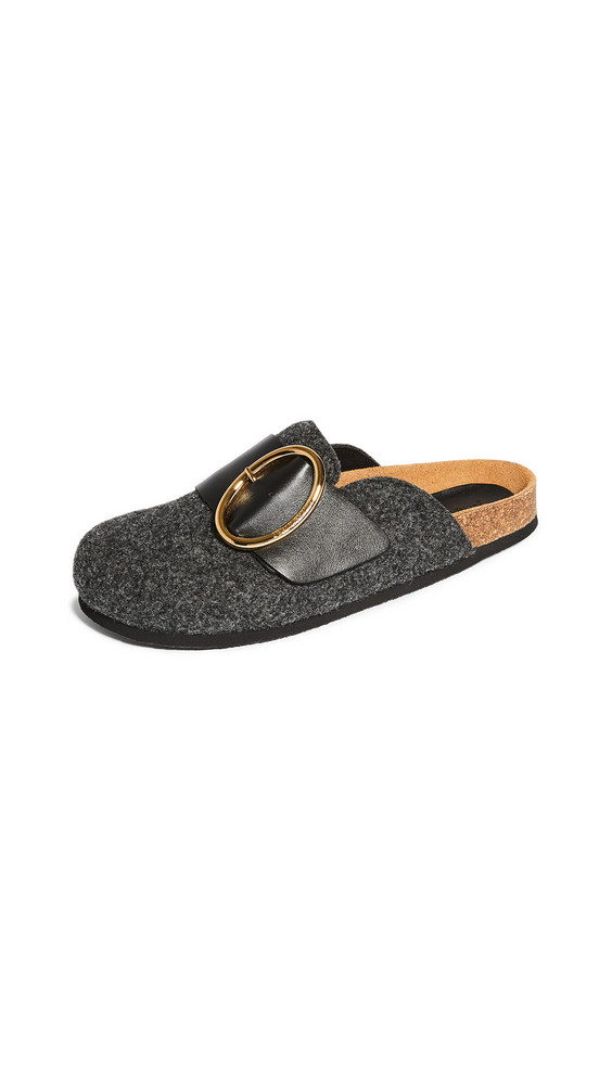 JW Anderson Felt Belted Mules in nero