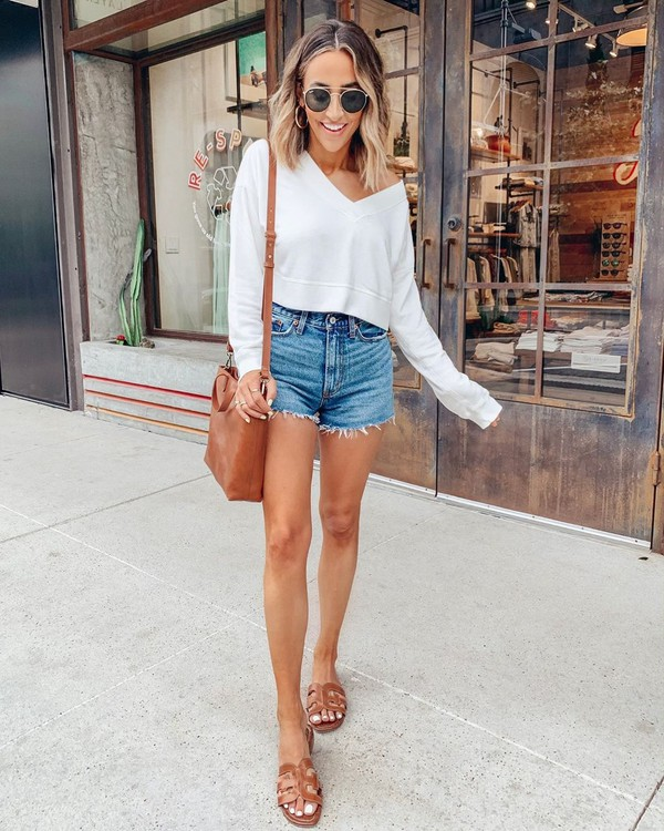 sweater sweatshirt denim shorts slide shoes brown bag