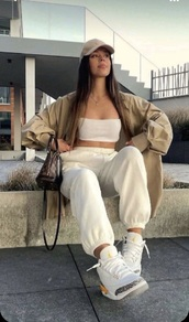 shoes,jordan's,beige tube top,beige bottoms,whole outfit,everything
