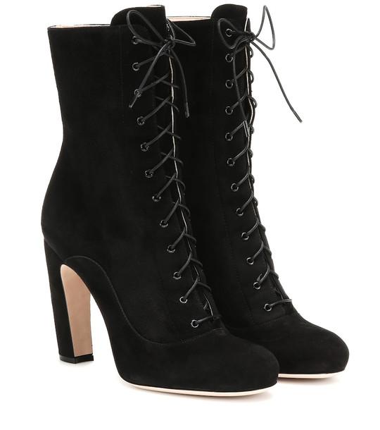 Miu Miu Suede ankle boots in black