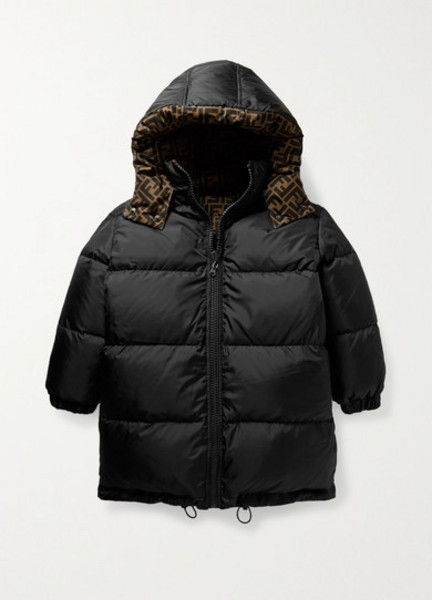 Fendi Kids - Ages 3 - 7 Reversible Printed Quilted Shell Down Jacket in black