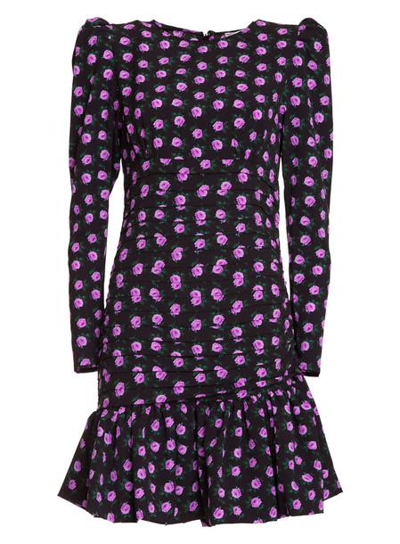 Essentiel Antwerp Essentiel Black Floral-print Mini Dress