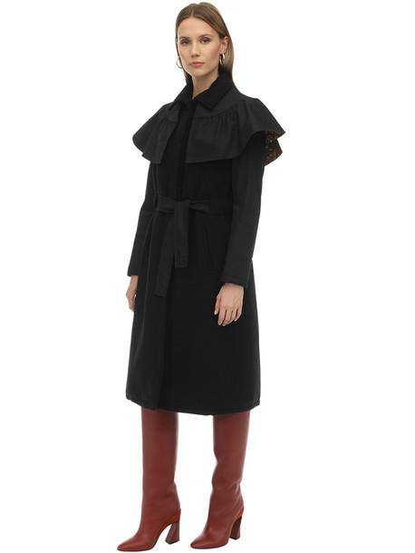 PARCOATS Eva Cotton Gabardine Trench Coat in black