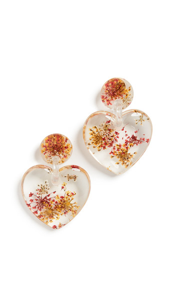 Lele Sadoughi Dried Floral Heart Earrings in pink