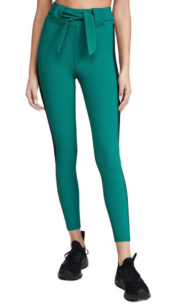 Year of Ours Thermal Ski Belted Leggings in black / green