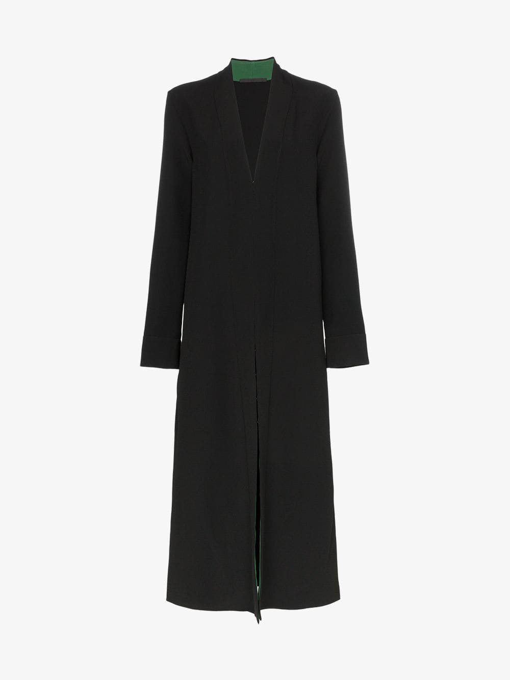 Haider Ackermann Contrast lining collarless coat in black