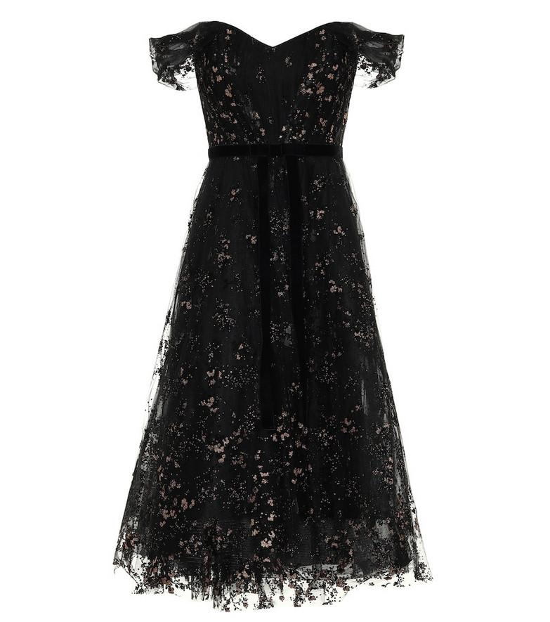 Marchesa Notte Off-the-shoulder lace midi dress in black