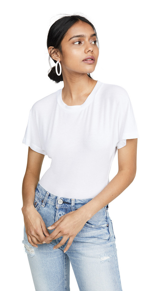 Only Hearts Featherweight Rib Dolman Sleeve Bodysuit in white