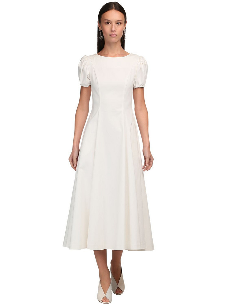 LUISA BECCARIA Puff Sleeves Stretch Cotton Midi Dress in ivory