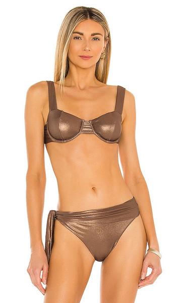 DEVON WINDSOR x Alexis Ember Bikini Top in Brown in gold / rose
