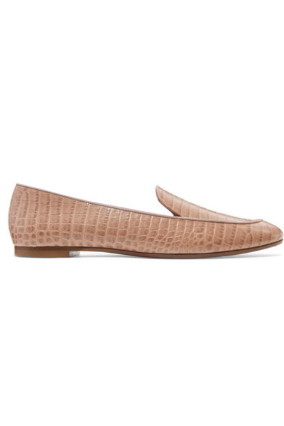 Aquazzura - Purist Croc-effect Leather Loafers - Antique rose