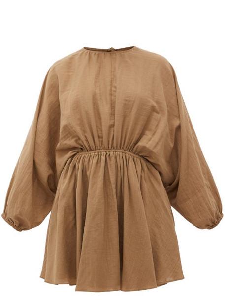 Loup Charmant - Kitta Batwing-sleeve Organic Cotton Mini Dress - Womens - Brown