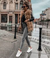 jacket,faux fur,faux fur vest,white sneakers,skinny jeans,leather jacket,top
