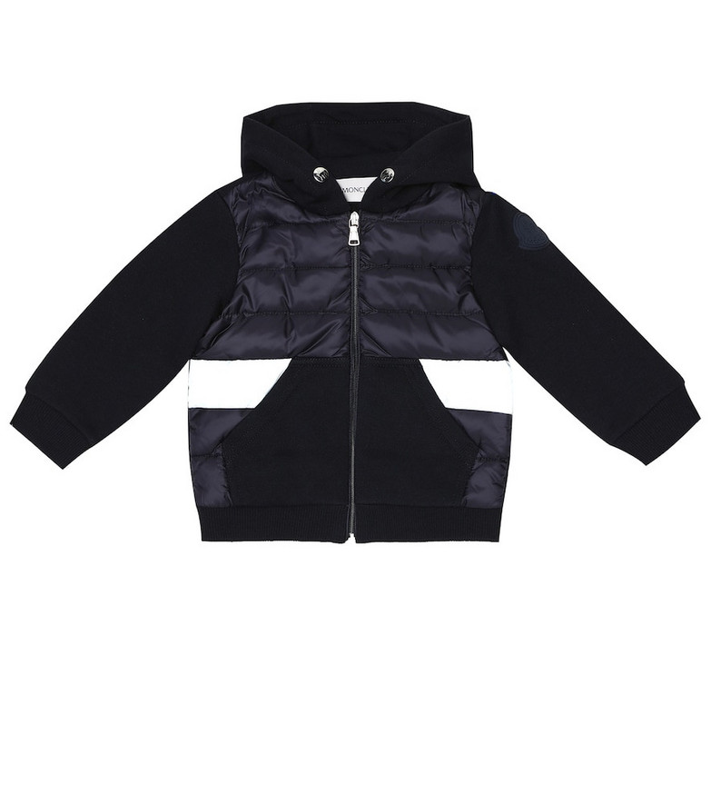 Moncler Enfant Baby cotton and down-filled jacket in blue