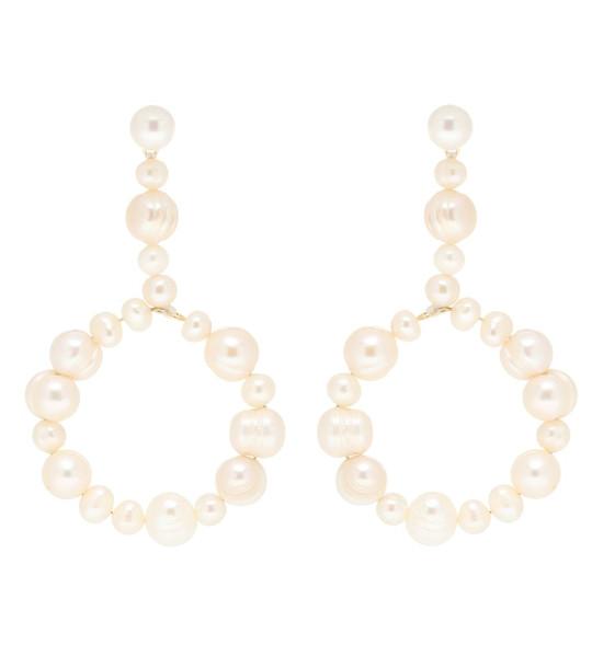 Lele Sadoughi Pearl drop hoop earrings in white