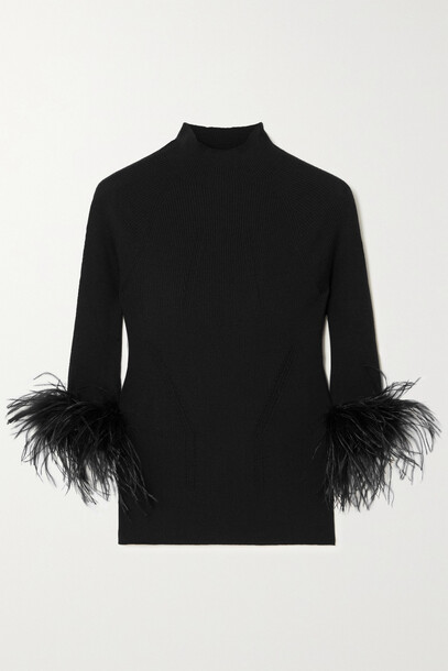 Lanvin - Feather-trimmed Ribbed Wool And Cashmere-blend Sweater - Black