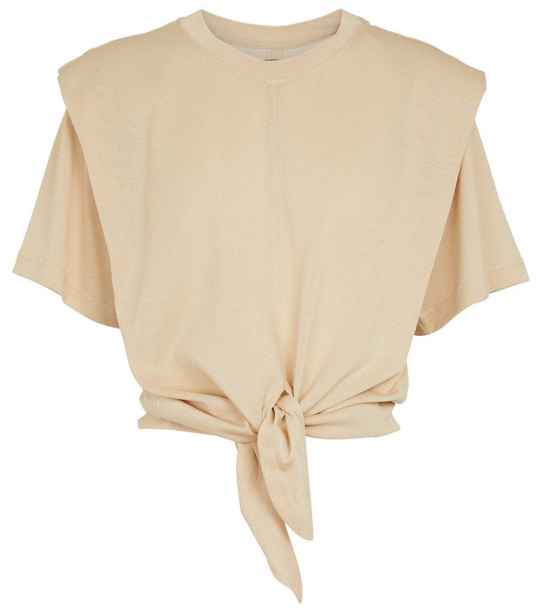 Isabel Marant Zelikia knotted cotton T-shirt in beige