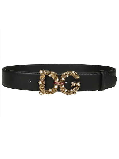 Dolce & Gabbana Logo Buckle Belt in black