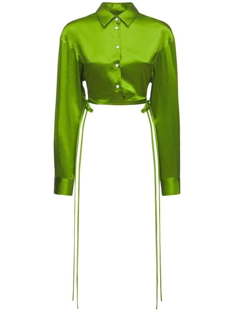 CHRISTOPHER ESBER Cropped Silk Satin Shirt in green